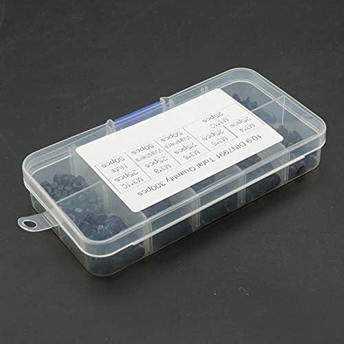 LIJIAN 300個M3 / M4 / M5 / M6 / M8 / M10 / M12皿頭六角ネジナット無味マットスプリングロックワッシャーコンビネーションセット