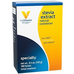 The Vitamin Shoppe Stevia Extract, Natural Sweetener, Non GMO, Zero Calories, Non Bitter Aftertaste, Herbal Sweetener 100 Packets