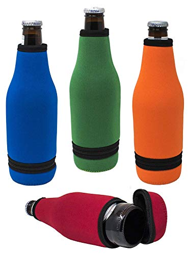 Holder Insulated Bottle - TahoeBay Beer Bottle Sleeves - Easy-On Bottom Zipper - Extra Thick Neoprene Blank Drink Cooler (Multicolor, 4)