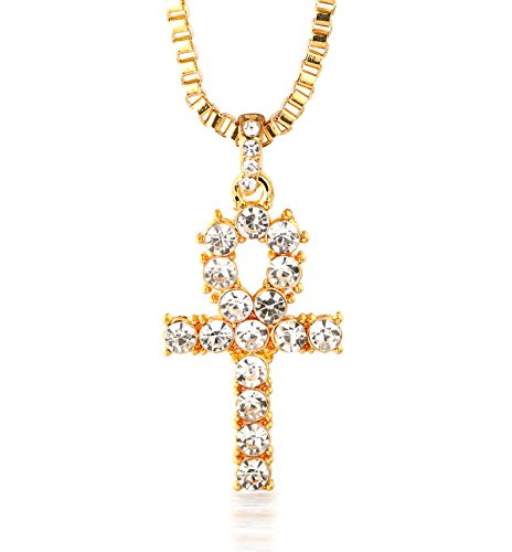 Halukakah PRAYER Men's 18k Real Gold Plated Cross Pendant Artificial Diamond Set Necklace with FREE Rope Chain 30