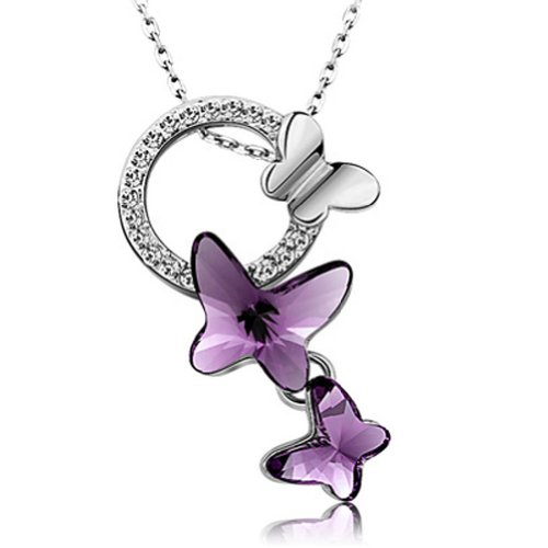 Latigerf Family Butterfly Pendant Necklace White Gold Plated Swarovski Elements Crystal Purple