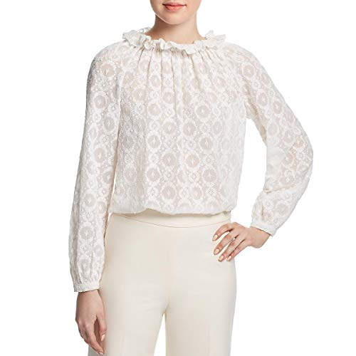 (Rebecca Taylor Women's Long Sleeve Lily Embroidered Top, Snow, 6)