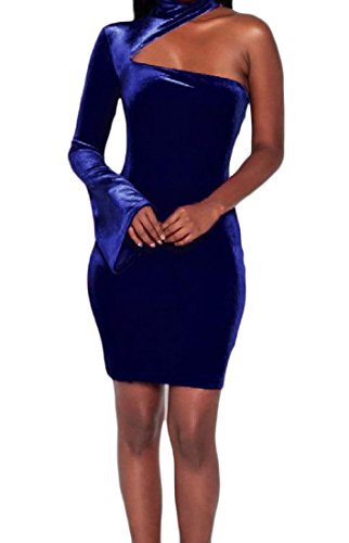 Elegant Blue Women Solid One Evening Party Shoulder Coolred Bodycon Dresses 1PxHCwZxnq