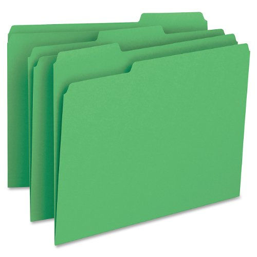 Smead File Folder, 1/3-Cut Tab, Letter Size, Green, 100 per Box (12143) (Green File Folders Letter)