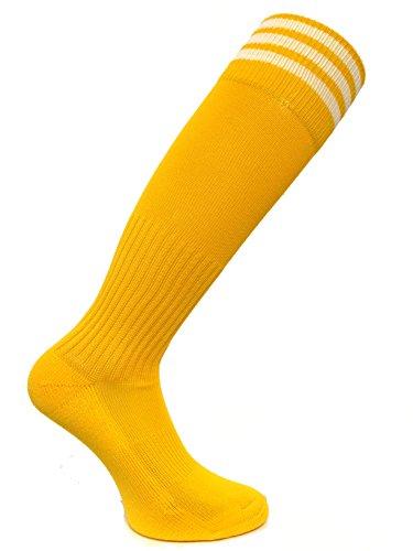 - SOC COM Pro Stripe Soccer Socks - Running, Cycling, Walking, Basketball, Football Soccer, Cross Fit, Travel (Gold, Medium - SOC1523)