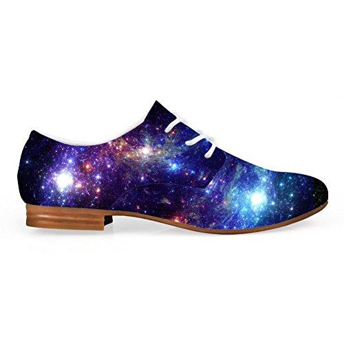 Zapatos Con Cordones Plano De Cuero Sintético Casual Oxford Zapatos Con Estampado De Estrellas Galaxy Del Galaxy Galaxy 2
