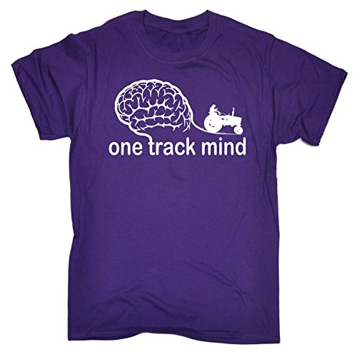 123t Men's One Track Mind Tractor Engineering T Shirt vehicle Farm Farmer Farming Tee Animals Trailer Machinery Agriculture Birthday Gift Christmas Present T-SHIRT (Animal Tracks T-shirt)