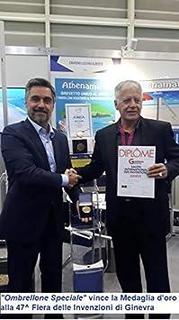 Brevetto premiato con Medaglia dOro e Premio Speciale alla 47^ Fiera Internazionale delle Invenzioni a Ginevra. Ombrellone da mare speciale da spiaggia resistente al vento con elica e manovella