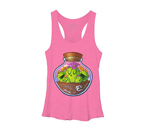 Design By Humans Cacti in Glass Women's Large Pink Heather Racerback Tank - Glassis