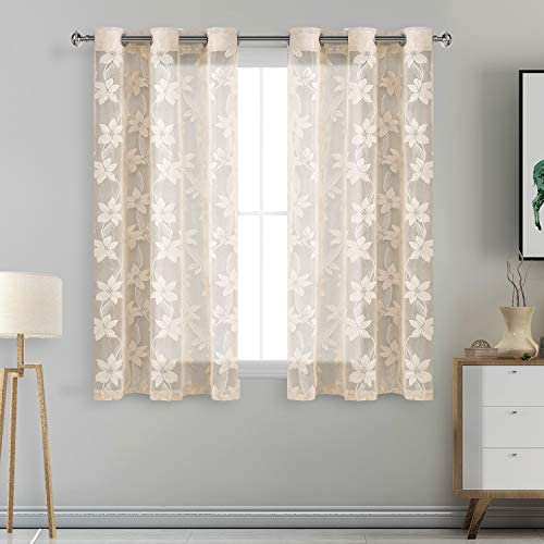 DWCN Floral Lace Sheer Curtains – Grommet Window Voile Sheer Drapes for Bedroom Kitchen Short Curtains 42 x 54 inch Length, Set of 2 Beige Curtain Panels