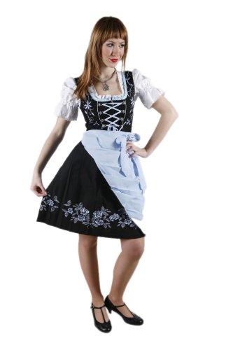 3tlg. Stickrosen Dirndl Set Schwarz Skyblau mit Bluse und Schuerze Gr.40