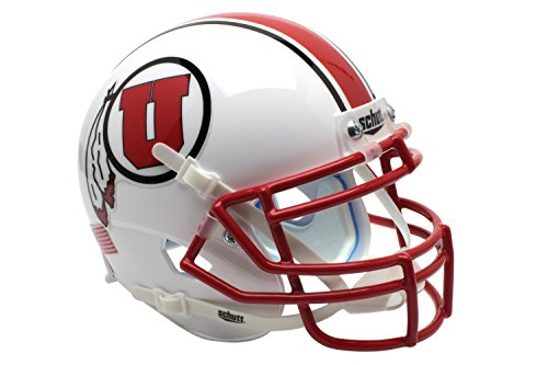 NCAA Utah Utes with Stripe Authentic Helmet, One Size by Schutt