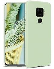 Ttimao Compatible con Funda Huawei Honor V30 Silicona Líquida Gel Cubierta+1*Protector de Pantalla Anti-Shock Funda Protectora con Cojín de Forro de Tela de Microfibra Suave-Verde