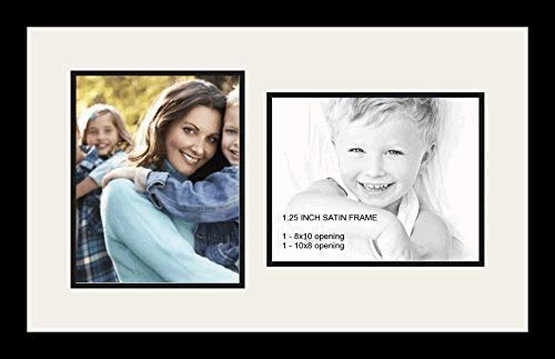 ArtToFrames Double-Multimat-107-61/89-FRBW26079 Collage Photo Frame Double Mat with 2-8x10 Openings and Satin Black Frame, Super White, 2-8x10 (2 8x10 Picture Frame)