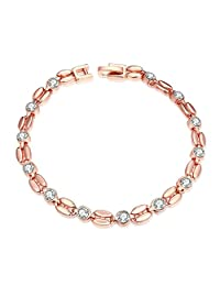 Gnzoe Jewelry Tin Alloy Colour Crystal Toggle Link Bracelet Bangle For Women Brides Rose Gold