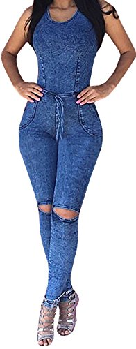 Ybenlow Womens Sleeveless Bodycon Jumpsuit