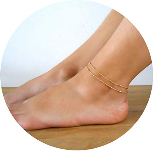Valloey Women Girls Handmade Dainty Anklet Silver 14K Gold Filled Bead Boho Beach Cubic Zirconia Foot Chain Adjustable Ankle Bracelet for Women(ANK-col-Gold) - Gold Filled Anklet