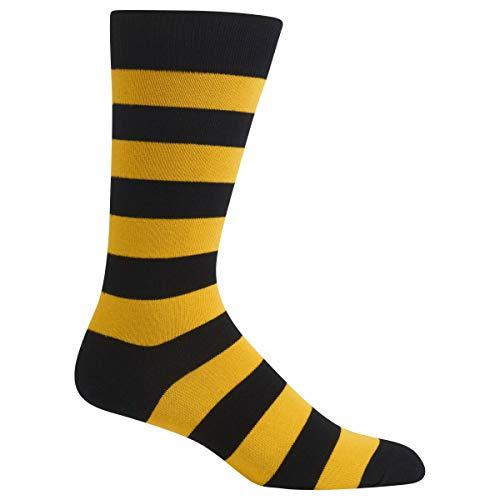 Hot Sox Men's Fashion Pattern Slack Crew Socks, College Rugby Stripe (Black/Sport Yellow) Shoe Size: 6-12 ()