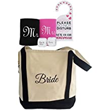 Bridal Shower Gift - Bride Canvas Tote and Honeymoon Survival Kit (Bride and Groom Cup Holders, Honeymoon Decision Dice and Do Not Disturb Door Hanger)