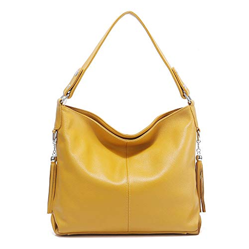 2018 New Handbag - 2018 New Fashion Soft Real Genuine Leather Tassel Women's Handbag Ladies Shoulder Tote Messenger Bag Satchel Black White (Yellow)