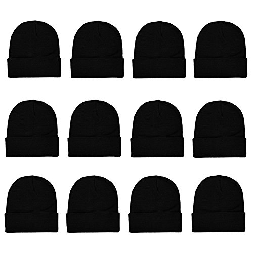 Cheap Winter Hats (Gelante Unisex Beanie Cap Knitted Warm Solid Color Multi-Packs (12 Pack:)