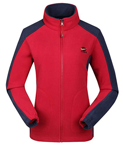 Women's Windproof Jacket Fleece Toddler Hiking Camping Fishing Coat Red XL by Kaisike