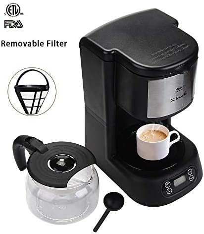 Drip Coffee Maker X-shuai, Automatic Programmable Coffee Brewer Machine,Simple Brew Single Serve to 5 Cup Coffee Making with Glass Carafe,Auto-shut off,Black