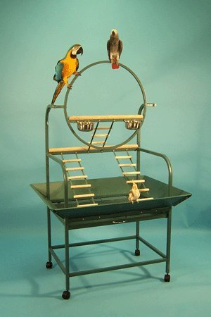 Extra Large Hangout Bird Play Stand Play Ground With Metal Seed Guard; 32 1/2W x 23D x 66H; Black Vein Mcage