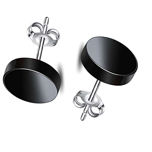 925 Sterling Silver rhodium Plated Natural Black Agate Stud Earrings(2pcs)