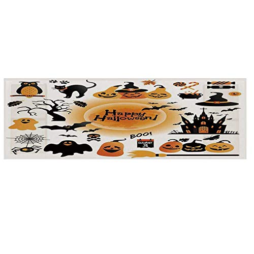Halloween Decorations Microwave Oven Cover,All Hallows Day Objects Haunted House Owl and Trick or Treat Candy Cover for Kitchen,36