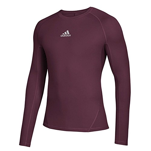 adidas Training Alphaskin Sport Long Sleeve Tee, Maroon, Medium -
