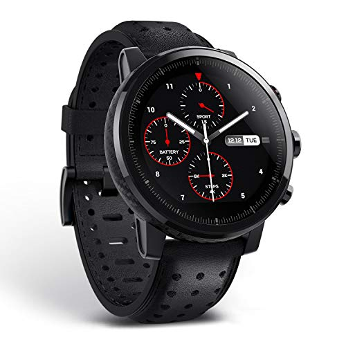 Amazfit Stratos 2S Smartwatch Genuie Leather Strap Gift Box Sapphire Premium Multisport with GPS Fitness Tracker, Hearth Rate Pedometer for IOS and Android Device, Tracking 16+ Different sports Mode