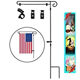 Garden Flag Stand,Yard Garden Flag Pole Holder with shtopper and Anti-Wind Clips Holds Flags up to 14.5'' in Width