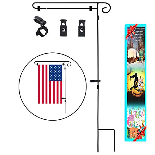 Garden Flag Stand,Yard Garden Flag Pole Holder with shtopper and Anti-Wind Clips Holds Flags up to 14.5'' in Width by HOOSUN
