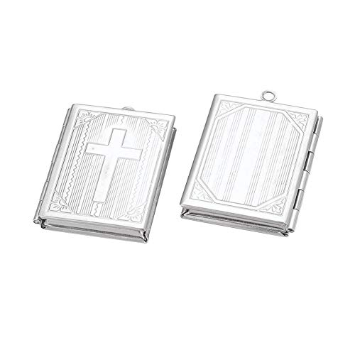 (UNICRAFTABLE 2pcs Stainless Steel Locket Pendants Rectangle Photo Frame Charms with Cross Silver Tone 2mm Hole Metal Pendants Crafting Jewelry Findings for DIY Necklace Bracelet Making 39.5x27x5.5mm)