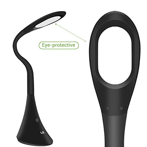 LE 9W LED Desk Lamp, Eye-caring Touch Control Dimmable Reading Study Lamp, 3 Adjustable Brightness Levels Table Lamp for Bedroom Office Dormitory, USB Output Function, Black by Lighting EVER (Image #3)