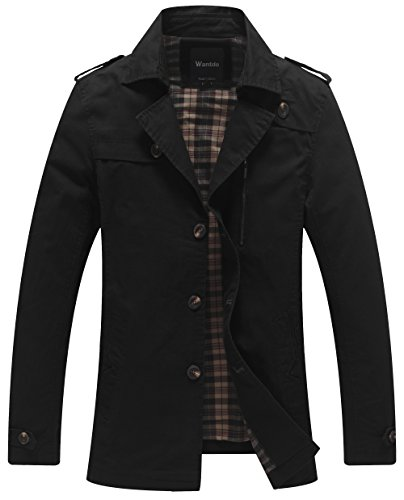 Wantdo Men's Turn-Down Collar Cotton Trench Coat US Large - Coat Cotton Mens Trench