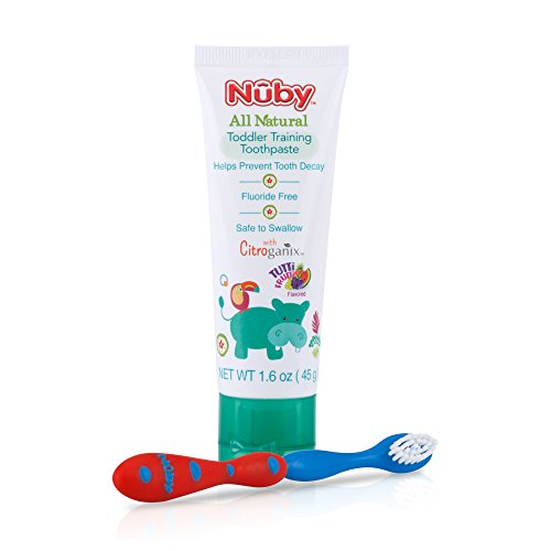 Nuby All Natural Toddler Toothpaste with Citroganix with Toothbrush, Red/Blue