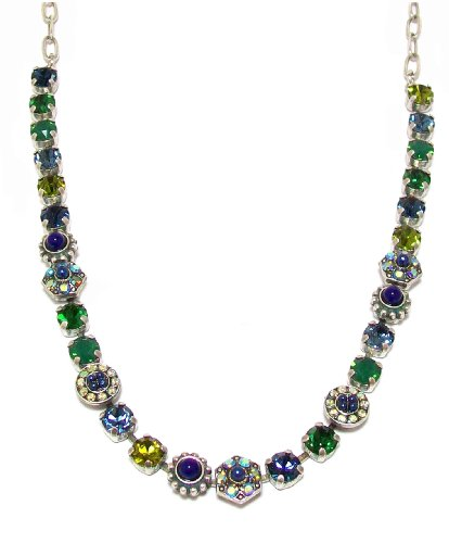 Mariana Antique Silver Plated Swarovski Crystal Statement Necklace, 16+4'' Extender by Mariana