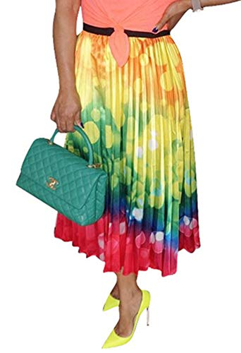 (MONASAMA Women Color Block Graffiti Bubble Print Cartton Pleated A Line Mini Party Skirt Yellow Red XXL)