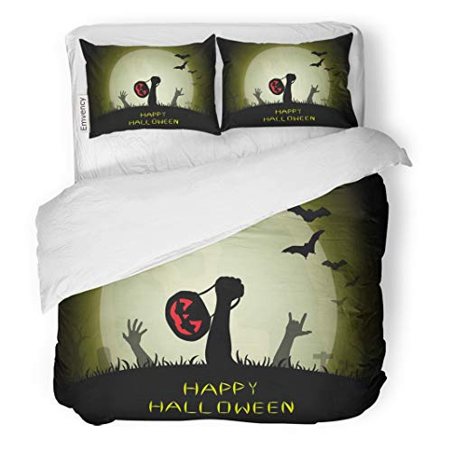 Tarolo Bedding Duvet Cover Set Zombie Hands Holding Pumpkin Basket and Love Sign Rising Out from The Grave in Halloween Night 3 Piece Twin 68