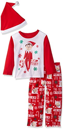 Elf of the Shelf Kids' Little Family Sleepwear Collection with Santa Hat, Mercury red, 6 -