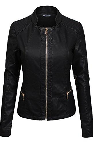 BodiLove Women's Slim Tailoring Faux Leather Zip Up Moto Biker PU Jacket Black L