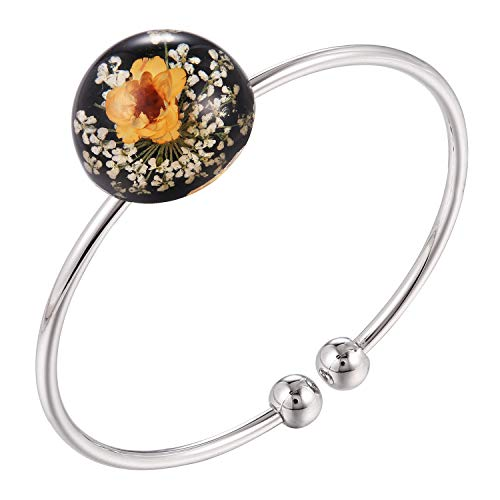 - FM FM42 Girls Teens Multi-Colored Pressed Flowers Round Dome Adjustable Bracelet Bangle (Style 1) FB2003