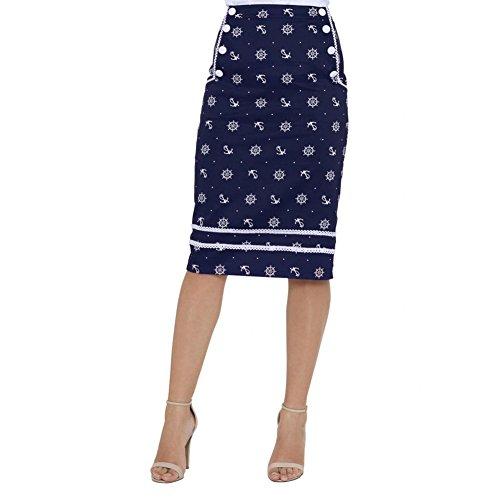Womens-Voodoo-Vixen-Valerie-Wheel-And-Anchor-Pencil-Skirt-Navy