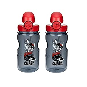 Nalgene OTF Kids / Children's, Racecar 12oz Water Bottle - Grey with Red and White Cap - 2 Pack 3 Inches in Diameter By 7.5 Inches Tall.