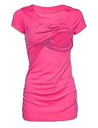 Happy Mama. Womens Maternity Nursing Double Layer T-shirt Round Neckline. 136p