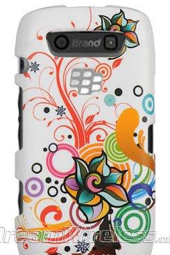 Luxmo CRBB9570WTATFL Unique Durable Rubberized Crystal Case for BlackBerry Torch 9850/9860/Monza/Storm 3 - Retail Packaging - White Autumn Flower -