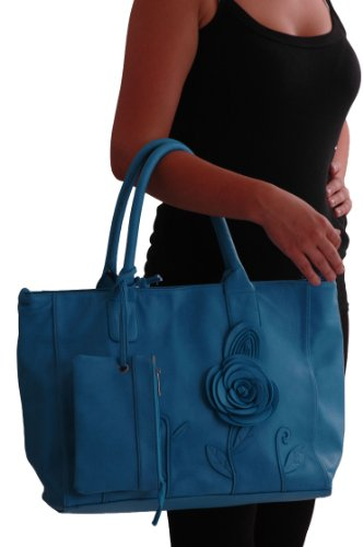 Leather Faux with ToteBag Bag Womens Purse Shoulder Rosette Turquoise Womens aESqOpwp