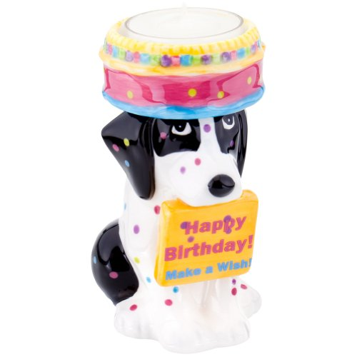 Animal World - Foxhound Puppy With Birthday Cake Candle Holder